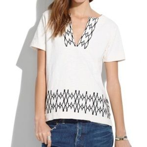 Madewell Boho Embroidered Popover Blouse